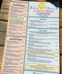 Sundeck at Lani Kai Lunch Menu