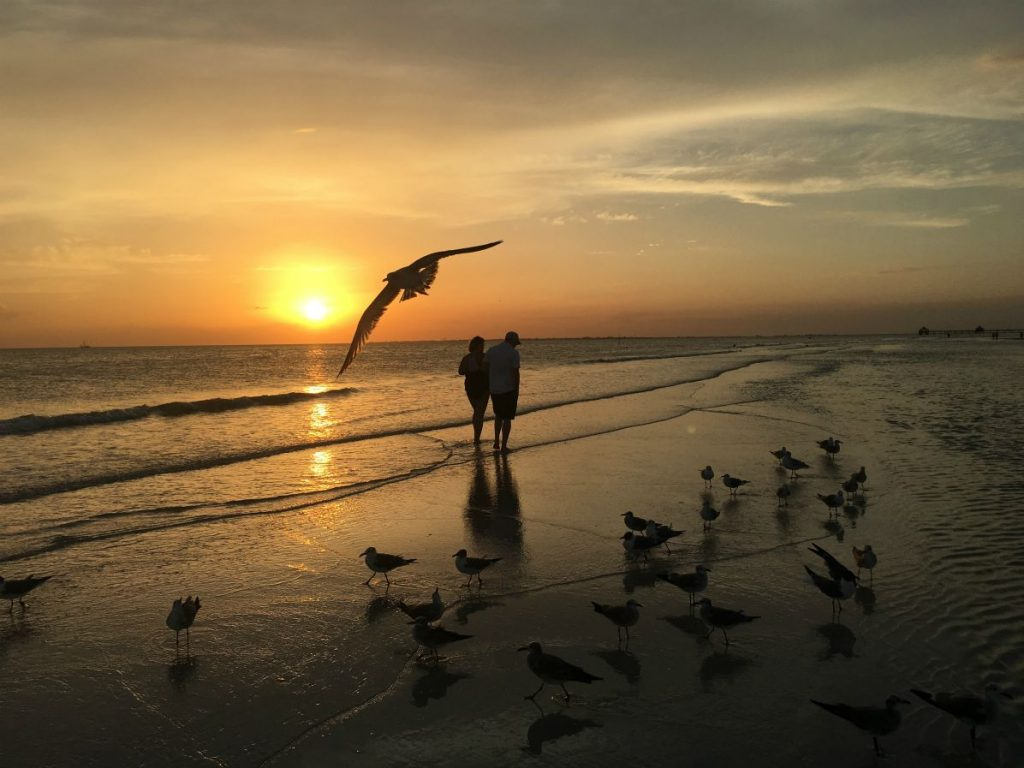 Couple at Sunset on Fort Myers Beach, Florida