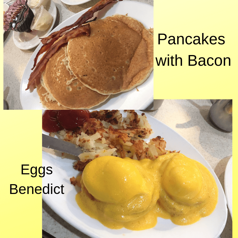 Eggs Benedict and Pancakes at Sunflower Cafe in Fort Myers Beach, Florida