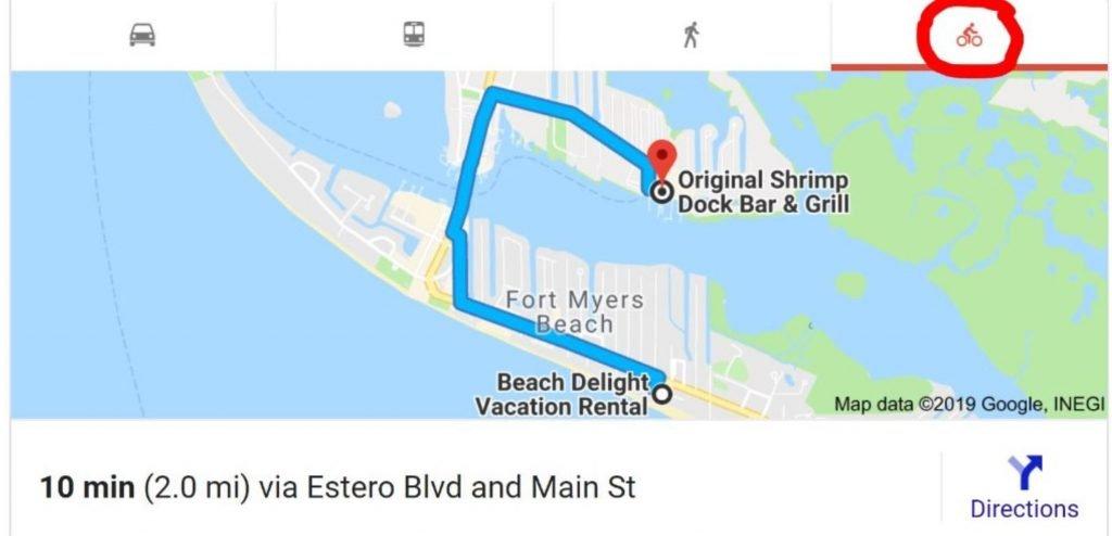 Map to the Original Shrimp Dock Bar & Grill on San Carlos Island