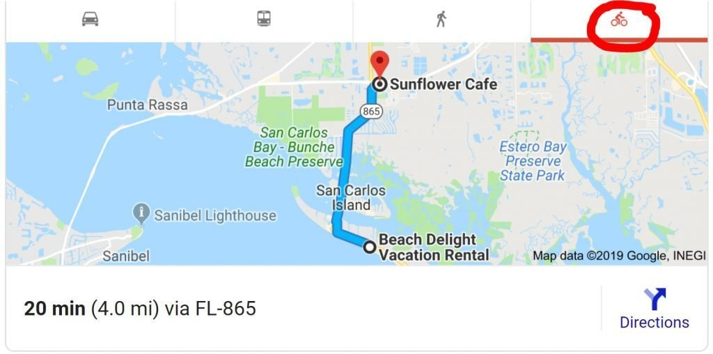 Map from Beach Delight Vacation Rental to Sunflower Cafe