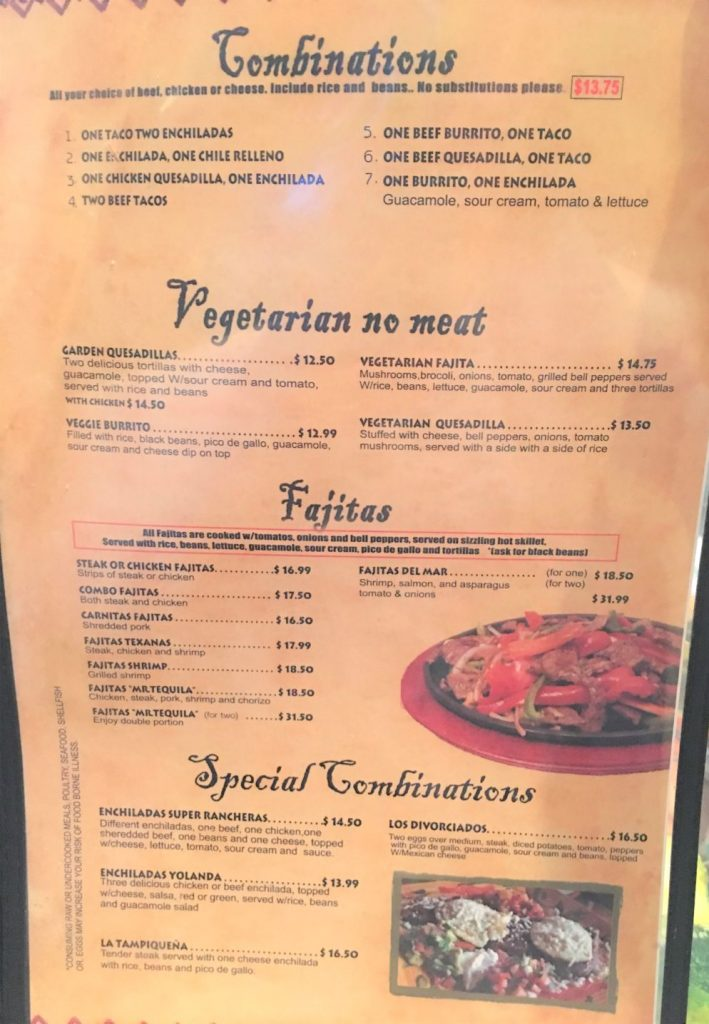 Mr Tequilas Combination Plates Menu