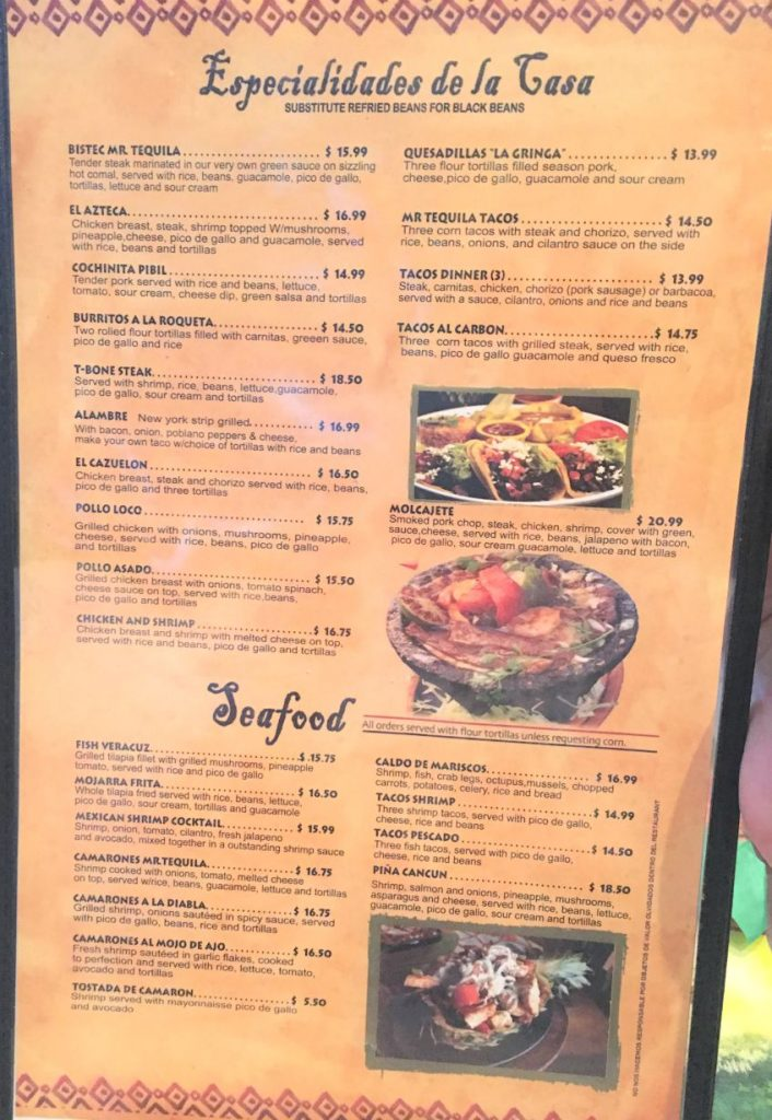 Mr. Tequilas Specialties Menu
