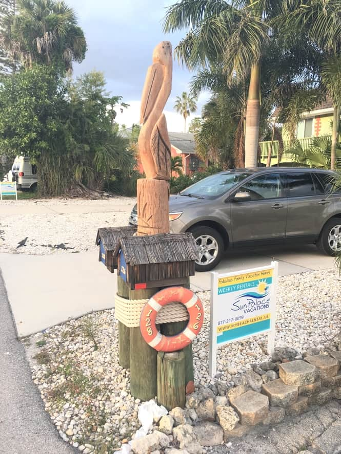 Wood-Carved Pelican Mailbox