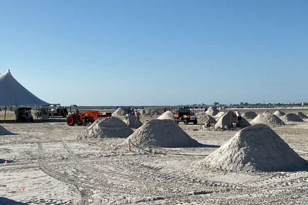 Sand Piles and View of The Gulf of Mexico