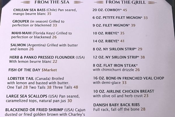 Charlies Boat House Grill & Wine Bar Dinner Menu