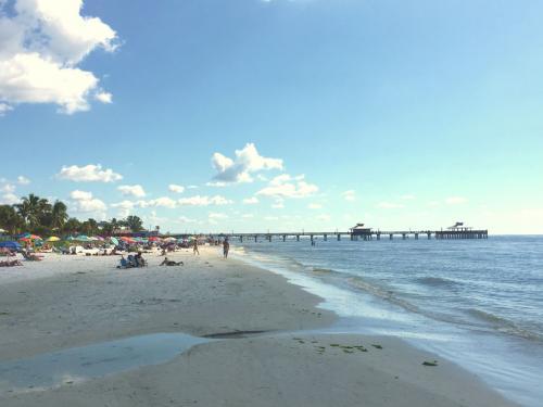 Beach Umbrellas by the Pier